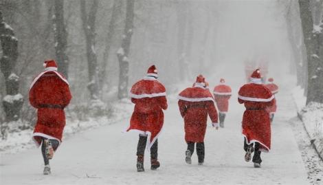 German Santas in Snow